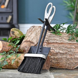 Loop Handle Brush and Pan Set Finished in Black and Pewter