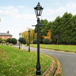 Black Concordia Hexagonal Lamp Post & Lantern Set 2.7m