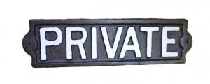 Black Iron 'Private' Sign