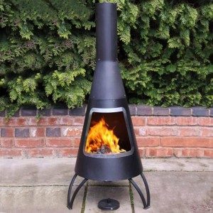 Black & Steel Finish Contemporary Chimenea in Situ in the Garden