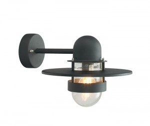 Black Straight Bracket Overhanging Wall Light