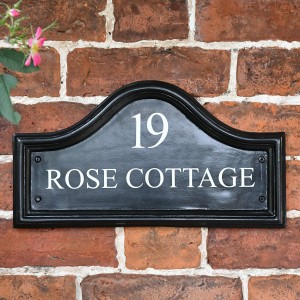 Black Traditional house name plaque with letters & numbers