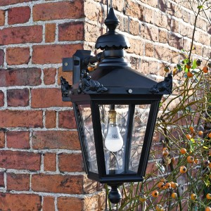 Black Top Fixed Wall Lantern