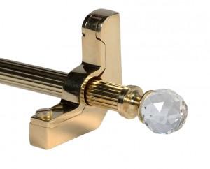 Zurich Brass Stair Rods with Genuine Austrian Crystal Finials - 12mm