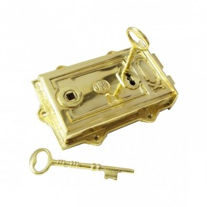 Ornate Brass Rim Lock With A Set Of Two Keys