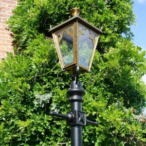 Close-up of the Antique Brass Gothic Lantern in Situ on the Lamp Post