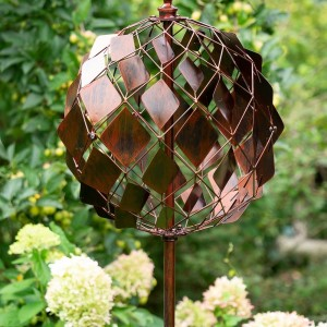 Bronze Sphere Wind Spinner with Diamond Pattern