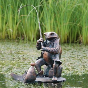 Bronze Fishing Frog Sculpture in Situ in a Pond