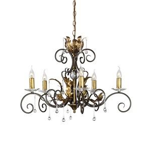 """""""Maresbeck Manor"""" Bronze & Gold Oak Leaf Design Chandelier"""