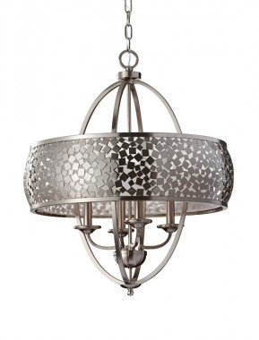 """Hollenwick Grove"" Brushed Steel Chandelier With Mosaic Pattern"