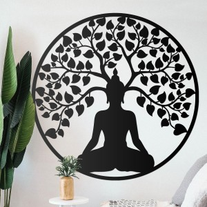 """Buddha Tree"" Wall Art in a Modern Sitting Room"