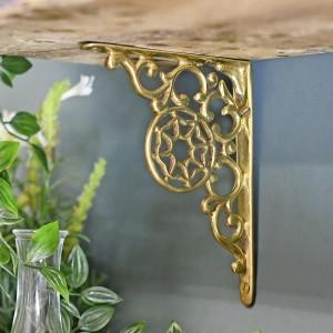 Polished Brass Scrolled shelf bracket