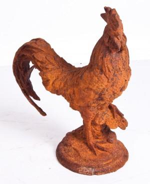 """Roosty"" Rustic cast iron rooster garden sculpture"