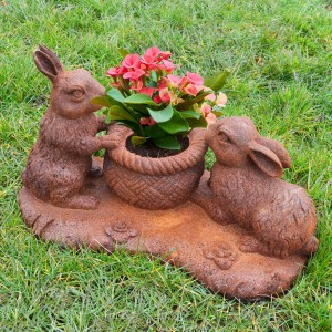 Cast Iron Rustic Rabbit Planter