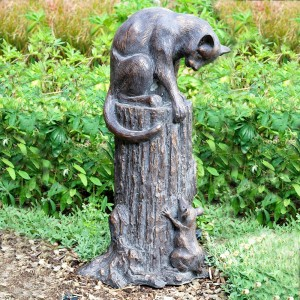 Cat Chasing Mouse Garden Sculpture