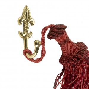 Polished brass Fleur De Lys curtain tie back hook