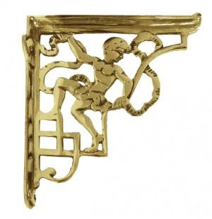 Polished Brass Cherub Design Bracket 24 x 20cm