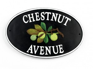 """""""Chestnut Tree"""" Cast Iron Effect Oval House Name Sign"""
