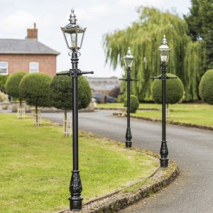 Black Harrogate lamp post set 2.2m