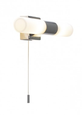 Chrome Pull Light With White Opal Shade