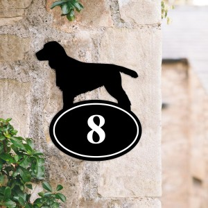 Cocker Spaniel Iron House Number Sign Created Out of Iron