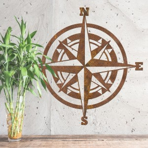 Compass Wall Art in Situ on a Grey Wall
