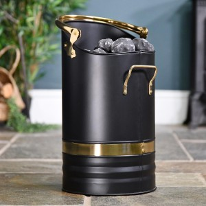 Contemporary Black Coal Hod With Brass Handles