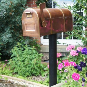 Antique Copper and Brass American Style Mail Box with Ridge Detail