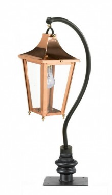 Copper Swan Neck Pillar & Lantern 106cm