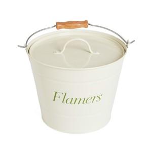 Cream Wood Flamers Bucket & Lid