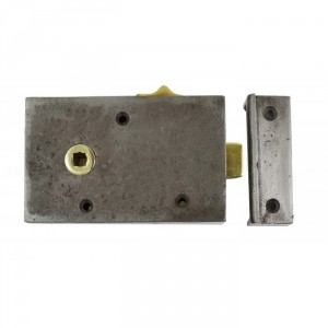 Cast Iron Rim Lock  With Brass Draw Bolt & Keeper Plate