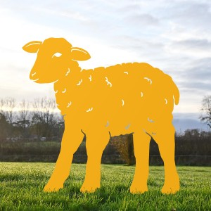 Yellow Iron Curly Lamb Silhouette in Situ in the Garden