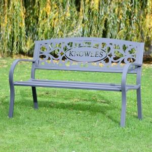 Family Name Iron Bench in the Garden