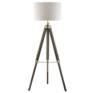 Natural Wood Tripod Design Floor Lamp with Linen Shade