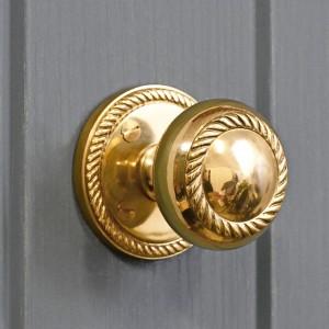 Polished Brass Georgian rope design centre door knob