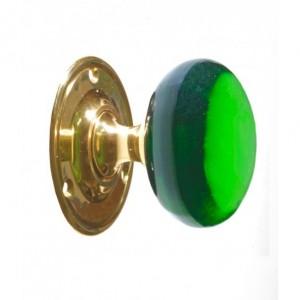 Clear glass Green door knob