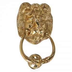 'Hampton Lion' Polished Brass Door Knocker- 150cm