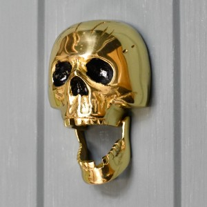 Polished Brass novelty skull door knocker