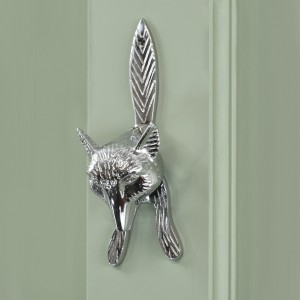 Bright Chrome Fox Door Knocker on Green door