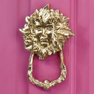 Polished brass Goddess Door Knocker on pink door