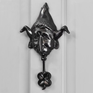 Black Elf Door knocker on Grey front door