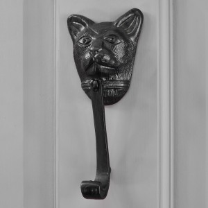 Black Cat Door Knocker on Grey Door