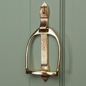 """Polished Brass """"Stirrup"""" Door Knocker"""