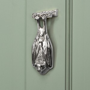 Bright Chrome Bat Door Knocker
