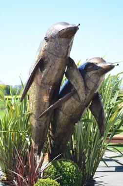 """Havana Waves"" Dolphin Garden Sculpture and Water Feature"