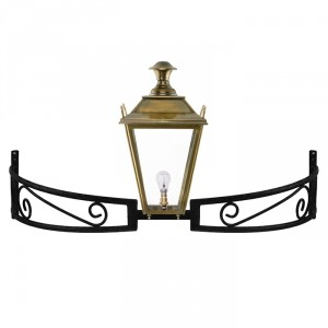 Antique Brass Dorchester Lantern On a Bow Bracket