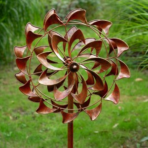 Double Swirled Flower Design Windspinner Finished in a Metallic Bronze