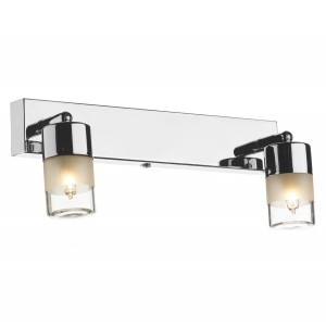 Dual Bulb Bright Chrome Bathroom Wall Light