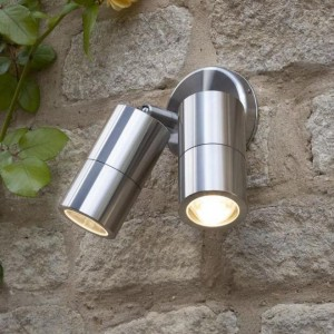 Dual Cylinder Downlight in Situ on a Stone Wall