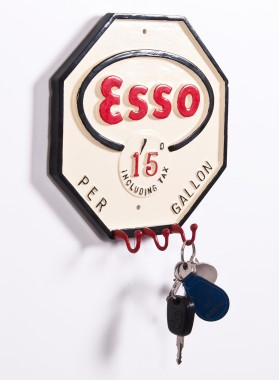 Esso petrol key and hook rack